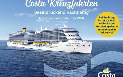 Costa Jahresauftakt-Kampagne 2020 – Premium-Getränkepaket und Internetpaket bei Reisen mit der Costa Smeralda und ins Nordland für kurze Zeit inklusive