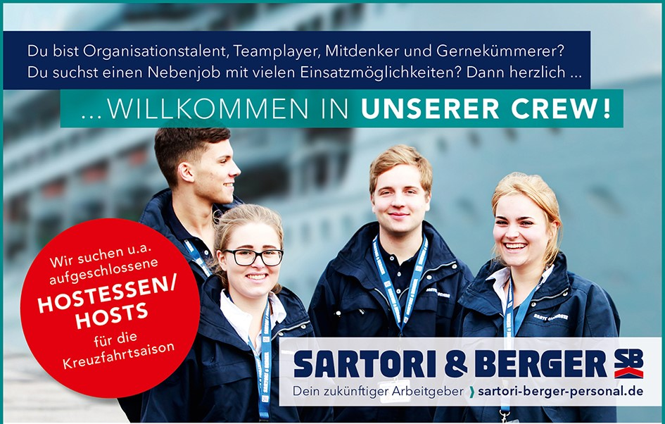 Hostessen und Hosts (m/w/d) für die Kreuzfahrtabteilung – SARTORI & BERGER