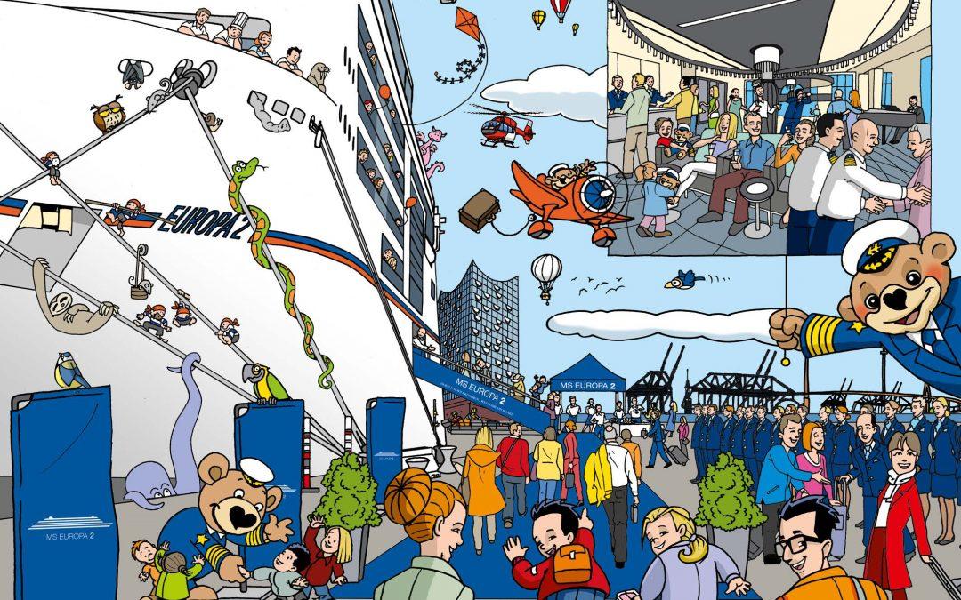 """Es """"wimmelt"""" an Bord: Luxuskreuzfahrtschiff EUROPA 2 erhält eigenes Wimmelbilderbuch"""