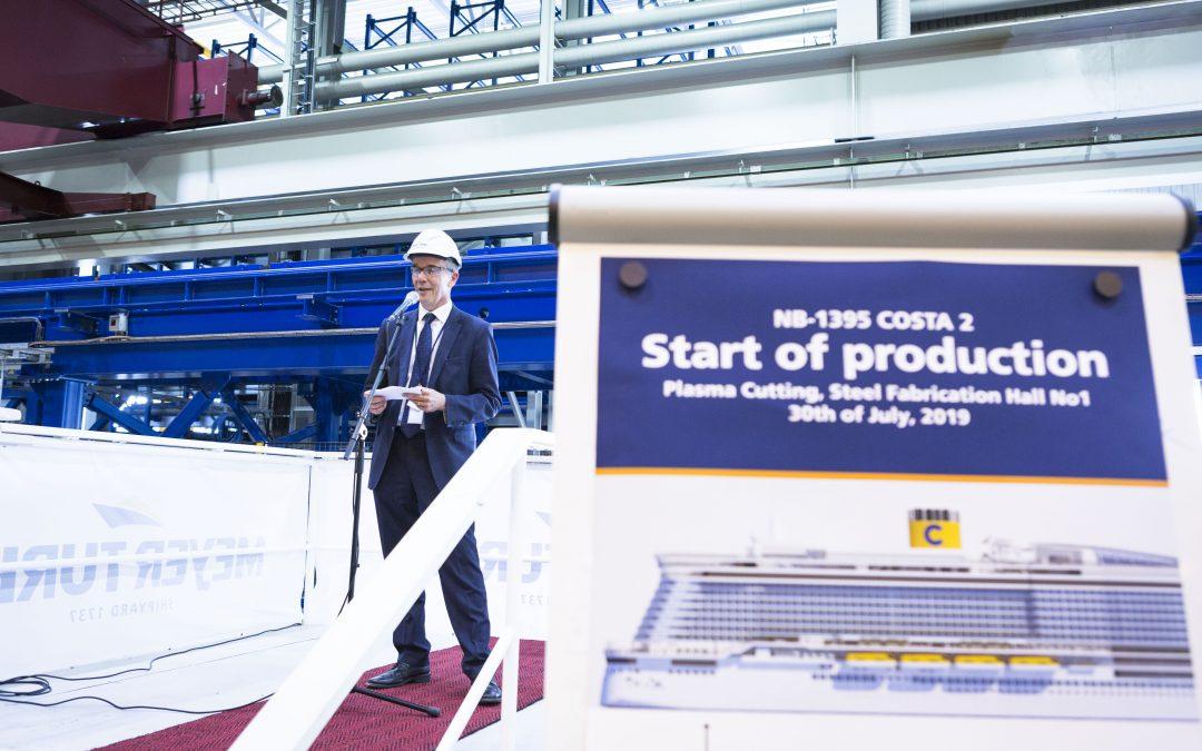 Costa Toscana: Erster Stahlschnitt für zweites Costa LNG Schiff