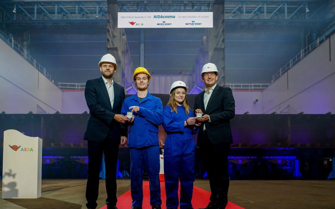 Kiellegung für AIDAcosma auf der Neptun Werft in Rostock – Zweites AIDA LNG-Kreuzfahrtschiff wird im Sommer 2021 ab Kiel Norwegen und die Ostsee bereisen.